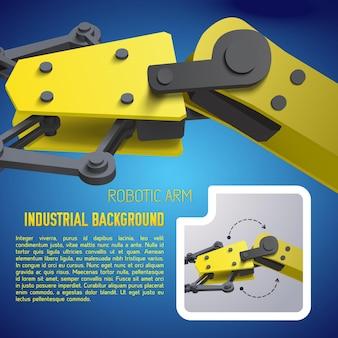 3d-realistische gele robotarm met industriële achtergrondbeschrijving en detail van robotarm