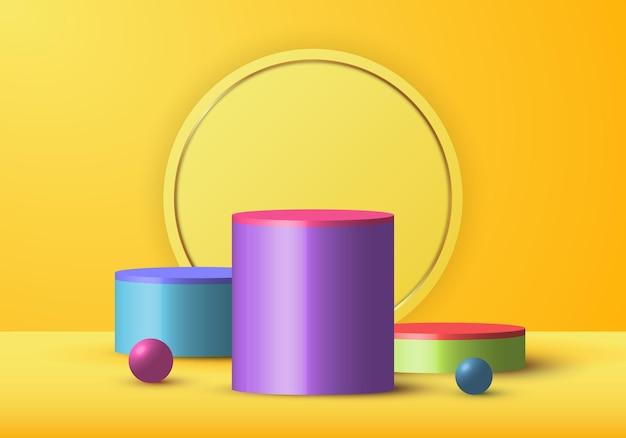 3d-realistische gele weergave en kleurrijke geometrische bol.