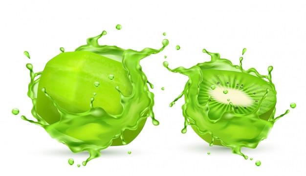 3d-realistische gepelde tropische kiwi in spatten van sap. groen exotisch zoet fruit in verse vit