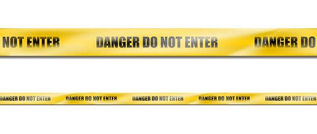3d-realistische gevaar geel gestreept lint, waarschuwingstape van waarschuwingsborden voor plaats delict of bouwterrein.