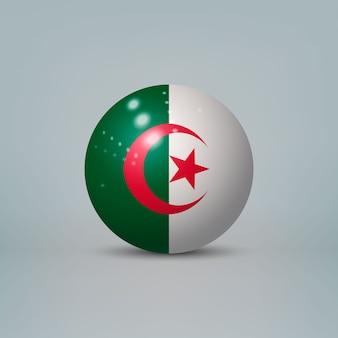 3d-realistische glanzende plastic bal of bol met vlag van algerije