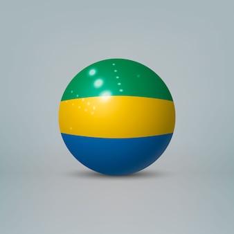 3d-realistische glanzende plastic bal of bol met vlag van gabon