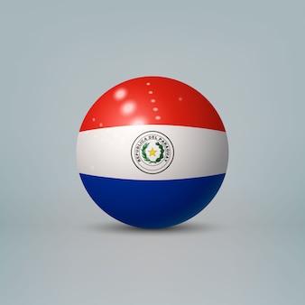 3d-realistische glanzende plastic bal of bol met vlag van paraguay