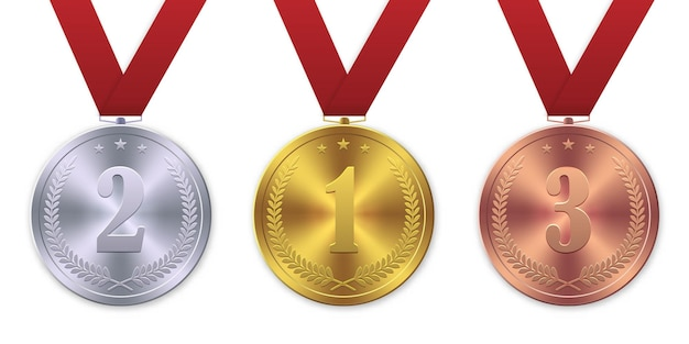 3d-realistische gouden, zilveren en bronzen medaille, winnaar van de eerste plaats