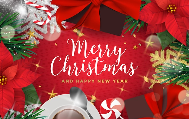 3d-realistische kerst achtergrond illustratie met kopie ruimte voor belettering sjabloon