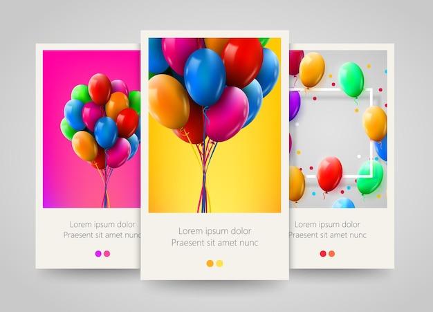 3d-realistische kleurrijke stelletje verjaardagsballons vliegen voor feest en vieringen banners.