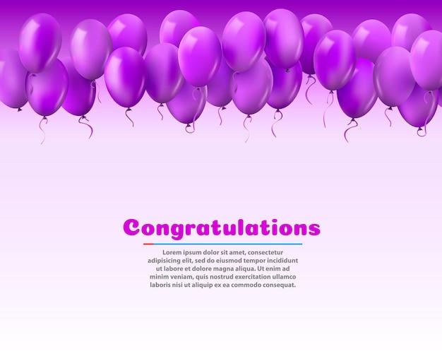 3d-realistische kleurrijke stelletje verjaardagsballons vliegen voor partij en vieringen met ruimte voor bericht geïsoleerd op witte achtergrond. vectorillustratie