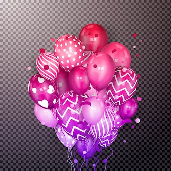 3d-realistische kleurrijke stelletje vliegende verjaardagsballons.