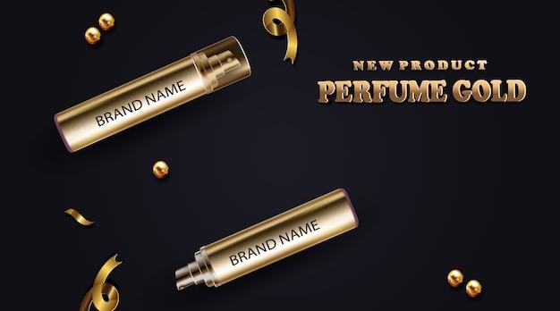 3d-realistische mock-up van nieuw product parfum gouden fles cosmetica