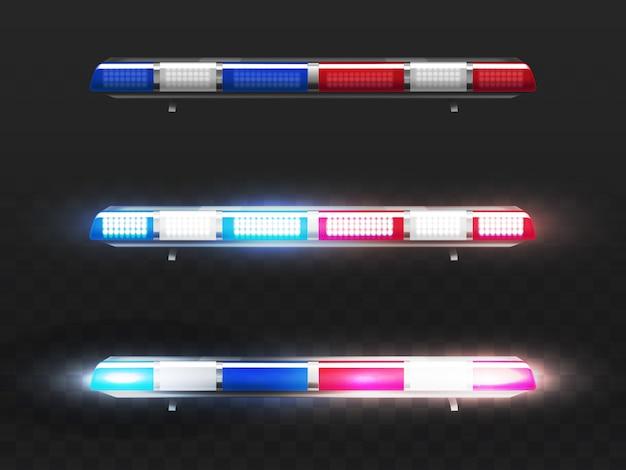 3d realistische rode en blauwe geleide flitser voor politiewagen. signaal van gemeentelijke dienst met gloeilampen.