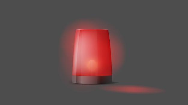 3d-realistische rode politie-flitser inschakelen. sirene close-up. licht, een baken voor een politieauto, ambulance, brandweerwagens. knipperende sirene voor noodgevallen. voorgrond.