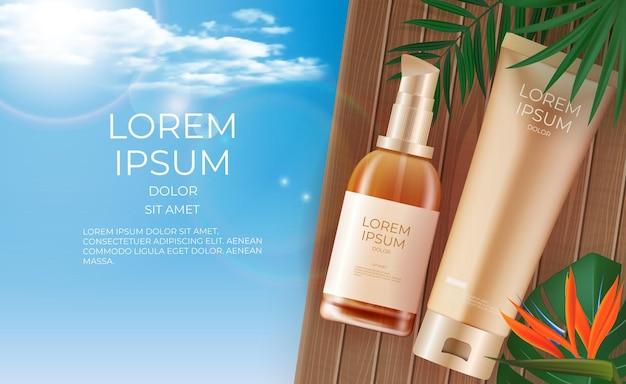 3d-realistische schoonheidsproduct crème fles banner