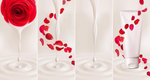 3d-realistische set druppel melk, yoghurt, room, olie of verf met rimpels, cosmetisch product met essentie druipend van bloemroos, wervelende vallende bloemblaadjes