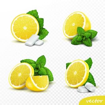 3d-realistische set van hele en gesneden citroenen met verse muntblaadjes, opties met ronde pillen en kauwgomkussentjes