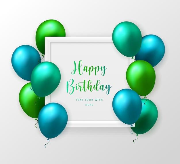 3d-realistische smaragd groen blauwe ballon en frame gelukkige verjaardag viering kaart banner sjabloon achtergrond