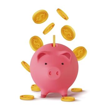 3d-realistische spaarpot in de vorm van een varken en munten vallen, geïsoleerd op wit