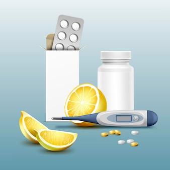 3d-realistische stijl medische set met pillen, digitale thermometer en citroenen geïsoleerd op blauwe achtergrond