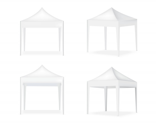 3d realistische tentvertoning pop-cabine te koop marketing promotie tentoonstelling achtergrond illustratie