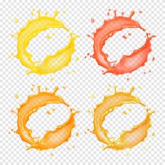 3d-realistische transparante cirkelvormige scheut vloeistof, sap, thee, olie of verf