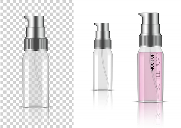 3d-realistische transparante fles pomp cosmetica of lotion voor huidverzorgingsproduct verpakking met zilveren dop