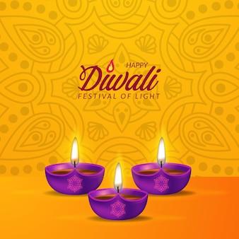 3d-realistische verlichte paarse olielamp voor gelukkig diwali-festival van licht uit india met bokehlicht met gele achtergrond