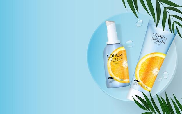 3d-realistische vitamine c zonnebrandcrème fles achtergrond met palmbladeren, podium en sinaasappel.
