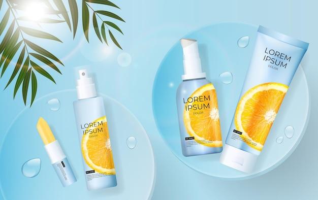 3d realistische vitamine c zonnebrandcrème fles met palmbladeren, podium en sinaasappel
