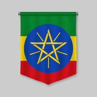3d-realistische wimpel met vlag van ethiopië