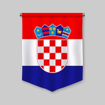 3d-realistische wimpel met vlag van kroatië