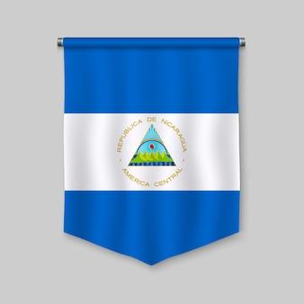 3d-realistische wimpel met vlag van nicaragua