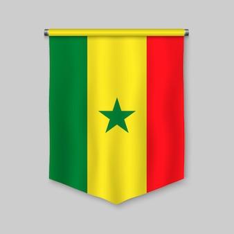 3d-realistische wimpel met vlag van senegal