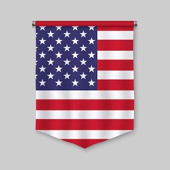 3d-realistische wimpel met vlag van verenigde staten