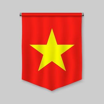 3d-realistische wimpel met vlag van vietnam