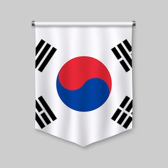 3d-realistische wimpel met vlag van zuid-korea