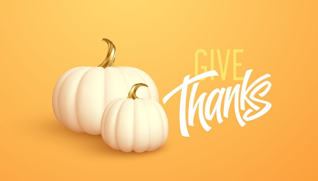 3d-realistische witgouden pompoen geïsoleerd op een oranje achtergrond. thanksgiving achtergrond met pompoenen en geven bedankt inscriptie. vectorillustratie eps10