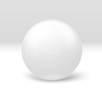 3d-realistische witte marmeren bal