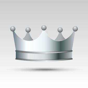 3d-realistische zilveren kroon.