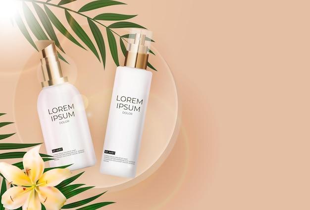 3d realistische zonbeschermingscrème fles met palmbladeren, leliebloem en podium