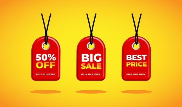 3d red tag-korting halve prijs grote verkoop beste prijs