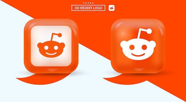 3d reddit-logo in moderne stijl voor social media-iconen - oranje vierkant