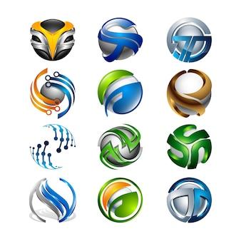 3d reeks abstracte ronde glanzende diverse embleemgebieden