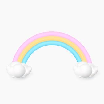 3d regenboog met wolk die op witte achtergrond wordt geïsoleerd