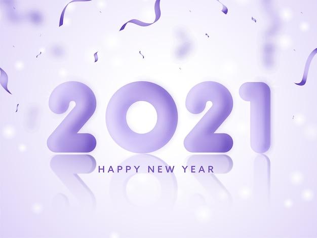 3d render glanzend 2021-nummer met confetti-linten op glanzende lichtpaarse achtergrond voor gelukkig nieuwjaar