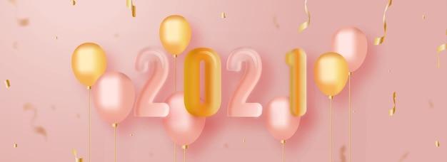 3d render glanzend 2021-nummer met realistische ballonnen