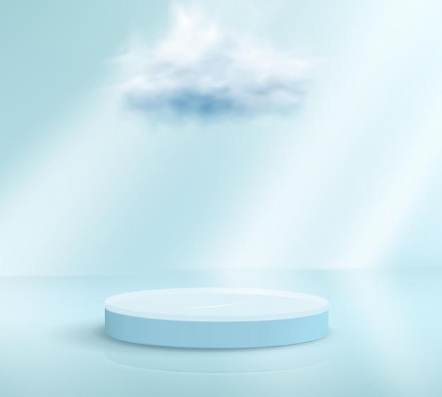 3d render lichtblauw podium met een wolk eroverheen op lichtblauwe achtergrond