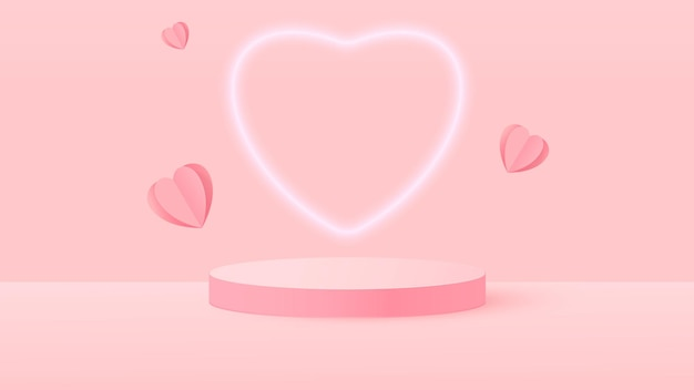 3d render van roze liefde valentijn pastel stadium illustratie