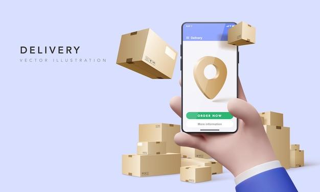 3d render voor online leveringsconcept. snel reageren levering pakket verzending op mobiel. online bestelling volgen met kaart. vector illustratie