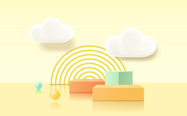 3d-renderingpodium, kleurrijke pastelachtergrond, wolken en weer met lege ruimte voor kinderen of babyproduct