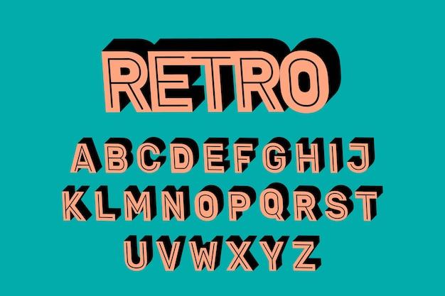 3d-retro alfabet ontwerp
