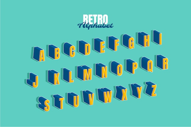 3d-retro alfabet set